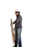 Constructor with ladder Stock Photography