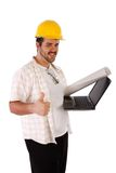 Constructor with Laptop Isolated Stock Photography
