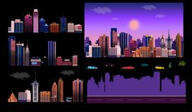 Constructor for night city background. Easy to create your own view of the city, with separate elements - buildings. Road, cars,background. Illustration is Stock Images