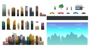 Constructor for night city background. Easy to create your own view of the city, with separate elements - buildings Stock Images