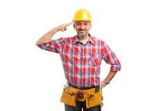Constructor with palm at forehead stock images