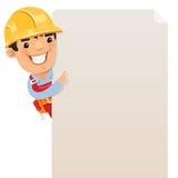 Constructor que mira el cartel en blanco Foto de archivo
