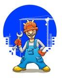 Constructor sonriente divertido Imagen de archivo libre de regalías