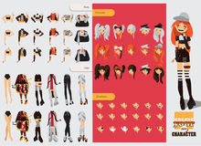 Constructor with spare parts for lovely visual kei girl. Different hairstyles, emotions, accessories, posing for hands and legs po. Sitions. Creative collection Royalty Free Stock Photos