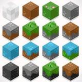 Constructor texturizado Craft Kit de los elementos de la mina de los cubos Imagenes de archivo