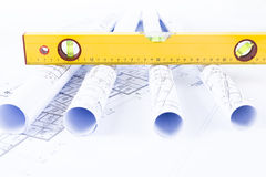 Constructor tools and drawings Stock Image