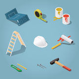 Constructor tools set. Isometric vector renovation tools set illustration. Toolbox: blueprint plan, buckets with paint, paint roller, helmet, hammer, nails Royalty Free Stock Image