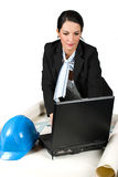 Constructor woman engineer work in office. Close up of constructor woman engineer working in office on laptop and projects isolated on white background,check out Stock Images