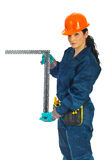 Constructor woman holding L ruler Stock Photos