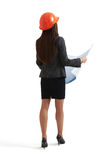 Constructor woman with orange hardhat Royalty Free Stock Photo