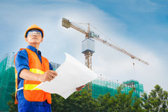 Constructor at work. Image of a young constructor on the constructor-site Royalty Free Stock Images