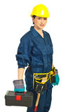 Constructor worker female Royalty Free Stock Image