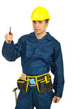 Constructor worker holding pincers Royalty Free Stock Photography