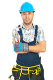 Constructor worker holding pincers Royalty Free Stock Images