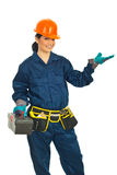 Constructor worker presentation Royalty Free Stock Photography