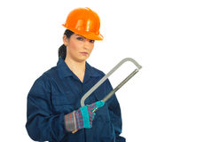 Constructor worker woman with copy space Royalty Free Stock Photos
