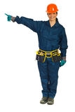 Constructor worker woman pointing Stock Image