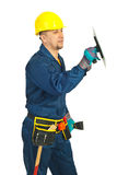 Constructor worker working with notched Royalty Free Stock Images