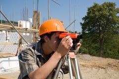 Constructor y nivel Foto de archivo libre de regalías