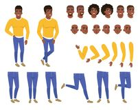 Constructor of young black man. Guy in yellow sweater and blue jeans. Creation set. Body parts, hairstyles and face. Constructor of young black man. Guy in Royalty Free Stock Photography