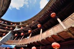 Constructure caracterizado do castelo da terra para dentro, ao sul de China fotos de stock