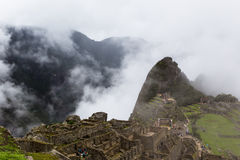 Construções e vale da montanha na cidade antiga Imagem de Stock