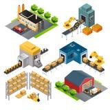 Construções industriais isométricas da fábrica Foto de Stock