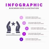 Construido, cuide, motive, motivación, fondo sólido de la presentación de los pasos de Infographics 5 del icono de la estrella stock de ilustración