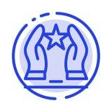Construido, cuide, motive, motivación, línea de puntos azul línea icono de la estrella libre illustration