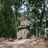 Construido del inukshuk de piedra Fotos de archivo