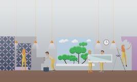 Construindo e reparando o conceito da casa vector a ilustração no estilo liso Fotos de Stock Royalty Free