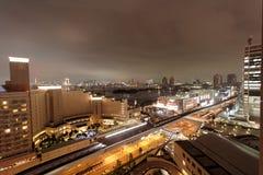 Construindo, na noite Tokyo, Japão Imagem de Stock