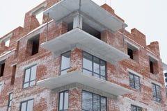 Construindo uma casa nova, uma construção nova, uma casa colorida para a vida Desenvolvimento da área residencial Conceito do cre Imagem de Stock