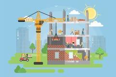 Construir el nuevo edificio stock de ilustración