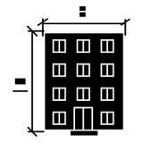 Construisant - l'icône de projet d'architecture, illustration de vecteur, noir se connectent le fond d'isolement Photo stock