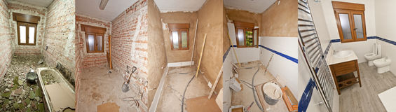 Construisant une salle de bains avant et après photos libres de droits