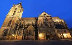 Construit entre 1235 et 1365 à Colmar, la France, l'église collégiale de Saint Martin s est un exemple important de gothique photos libres de droits