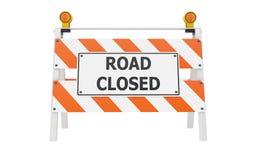 Construção fechada estrada da barricada Fotografia de Stock