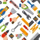 A construção home utiliza ferramentas o vetor sem emenda do teste padrão Imagem de Stock