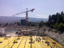 constrution Gebäudemall-Arbeitskräfte hotsun lizenzfreies stockbild