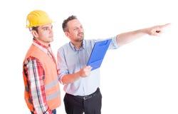 Constrution miejsca inspektor, budowniczy i kontrahent obraz stock