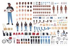 Construtor afro-americano do menino de entrega Coleção de partes do corpo do caráter masculino em posturas diferentes, uniforme ilustração do vetor