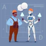 Construtor afro-americano Working With Robot dos desenhos animados que guarda o conceito moderno da tecnologia de construcção da  ilustração do vetor
