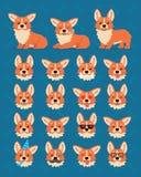 Construtor bonito do Corgi de Galês Vector a ilustração do cão do Corgi em poses diferentes e em suas emoções das mostras da cabe ilustração stock