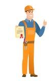 Construtor caucasiano novo que guarda um certificado ilustração do vetor