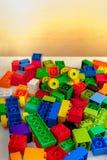 Construtor colorido no fundo branco Fotografia de Stock