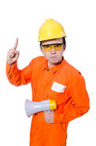 Construtor com altifalante Fotografia de Stock Royalty Free