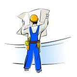 Construtor com modelos Fotografia de Stock