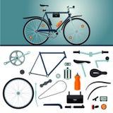 Construtor da bicicleta Bicicleta e peças realísticas Detalhes ajustados ilustração royalty free