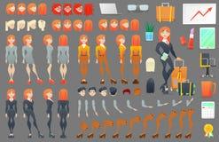 Construtor da criação do caráter da mulher de negócio Mulher em poses diferentes Pessoa fêmea com caras, braços, pés, penteados Fotos de Stock